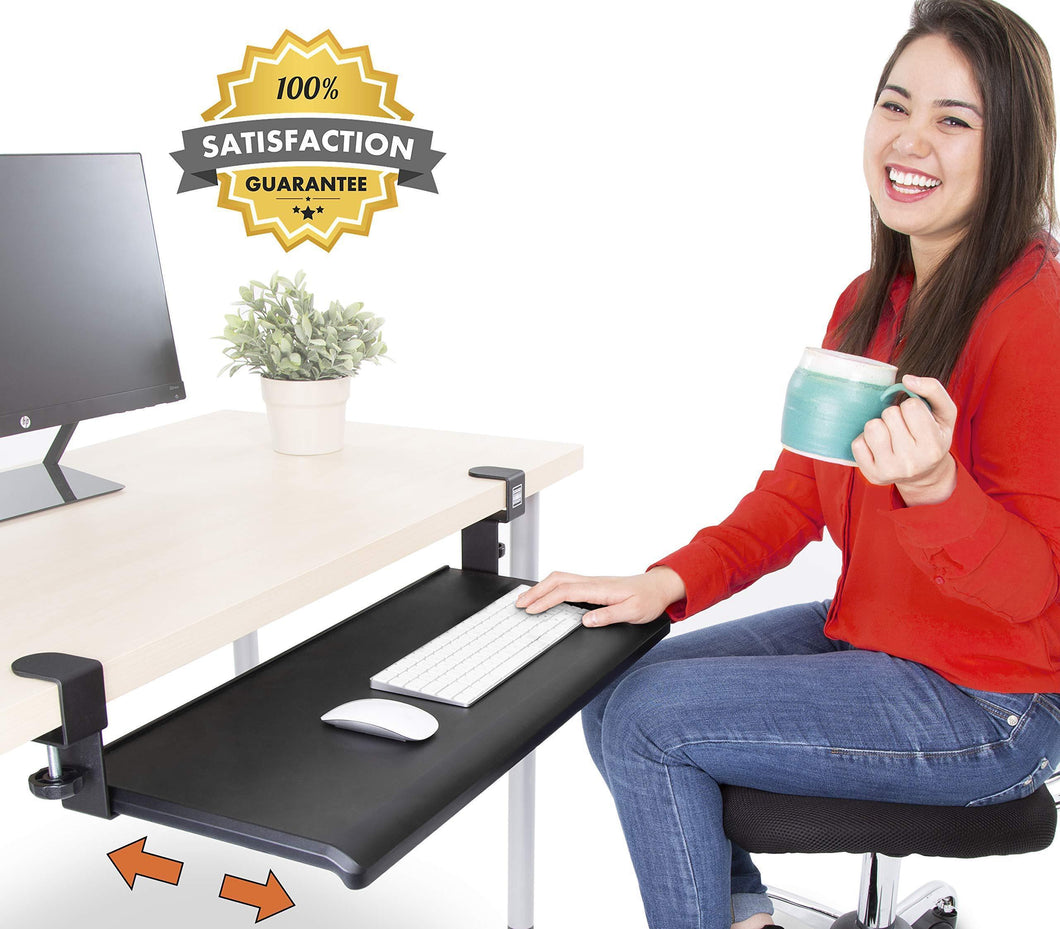 Shop here stand steady easy clamp on keyboard tray large size no need to screw into desk slides under desk easy 5 min assembly great for home or office