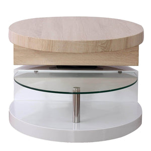 The best mecor swivel coffee table oval 360 degree rotating modern side end sofa tea table with glass 3 layers wood glass mdf living room office furniture