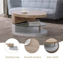 Load image into Gallery viewer, Top mecor swivel coffee table oval 360 degree rotating modern side end sofa tea table with glass 3 layers wood glass mdf living room office furniture