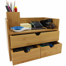Load image into Gallery viewer, New sherwood co 3 tier bamboo desk organizer with drawers perfect for desk office supplies vanity kitchen and home or office tabletop with bonus pen pencil holder