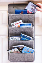 Load image into Gallery viewer, Buy elegant wonders 4 pocket fabric wall organizer for house closet storage and office with wall mount or for hanging over the door or cubicle wallpockets accessory by ew gray