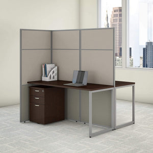 Save bush business furniture eodh46smr 03k easy office 2 person cubicle desk with file cabinets and 66h panels 60wx60h mocha cherry