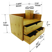 Load image into Gallery viewer, Heavy duty sherwood co 3 tier bamboo desk organizer with drawers perfect for desk office supplies vanity kitchen and home or office tabletop with bonus pen pencil holder