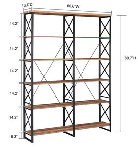 Related o k furniture 80 7 double wide 6 shelf bookcase industrial large open metal bookcases furniture etagere bookshelf for home office vintage brown