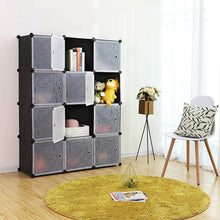 Load image into Gallery viewer, Products songmics cube storage organizer 12 cube closet storage shelves diy plastic closet cabinet modular bookcase storage shelving with doors for bedroom living room office black ulpc34h