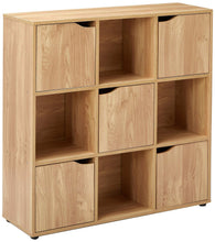 Load image into Gallery viewer, Save on home basics cube shelves natural wood shelf with doors room clothes storage home decor bookshelf toy organizer home office 4 open 5 cabinet style 9 c