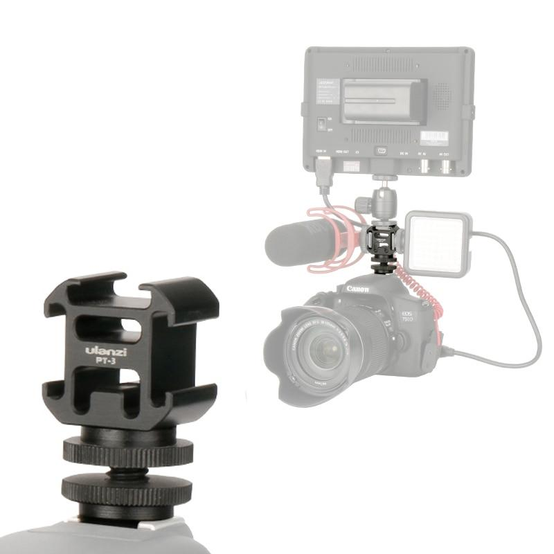Aluminium Flash Hot Shoe Mount Holder Triple Mounts Microphone Bracket LED Monitor Stand for Nikon