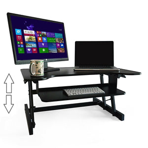 "Ergonomic Adjustable Height Standing Desk Monitor Stand 32"" Wide Desk Converter in Black"