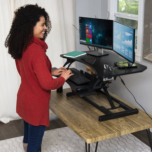 36in 2-Tier Electric Adjustable Dual-Monitor Standing Desk w/ Charging Port