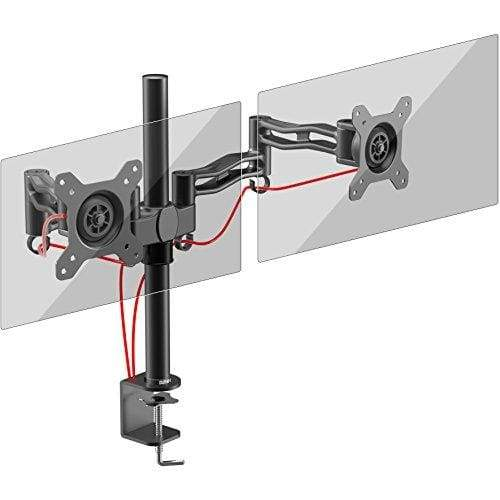 Duronic DM352 /BK Dual PC Monitor Arm Stand Desk Mount Screen Bracket Clamp Double / Twin | LCD | LED | Tilt and Swivel (Tilt ±15°| Swivel 180°| Rotate 360°) | Arms Made of Die Cast Aluminium | Super Strong