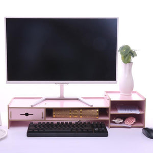 TV Monitor Stand Lift Desktop Organizer Shelf With Drawer