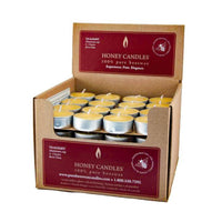 Display box full of beeswax tealights in aluminium cups