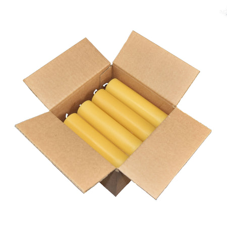 one case of twelve natural beeswax candles, in a recyclable box.