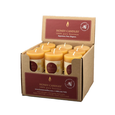 Small Round Pillar Beeswax Candle - Case of 9