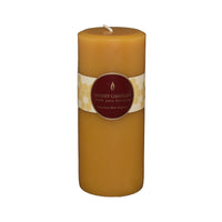 7 inch beeswax round pillar candle in honey color