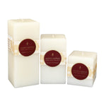 3 amazing white square beeswax tall pillar candles