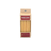 Small package containing twenty natural beeswax birthday cake candles.