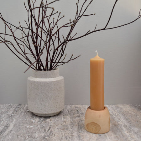 yellow natural beeswax column candlestick made from all natural Canadian beeswax
