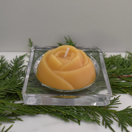 Yellow bees wax rose candle made from Canadian bees wax
