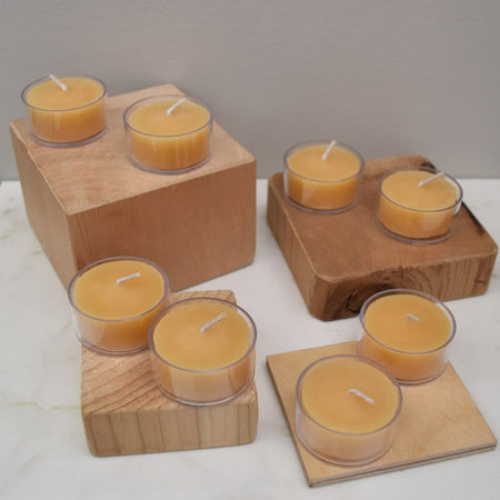 yellow natural beeswax tealight candles in a pack of eight