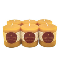 6 natural beeswax round pillar candles