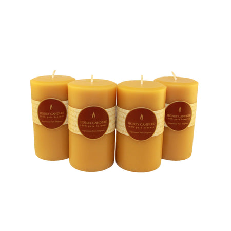 5 inch tall classic round pillar beeswax candles