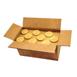 one case of thirty six natural beeswax votive candles. golden with a soft honey scent.