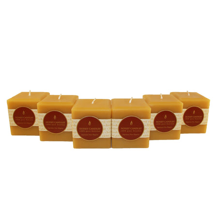 many 3 inch square pillar beeswax candles