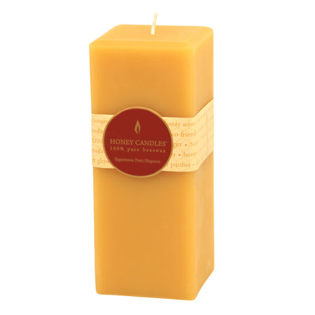 7 inch tall square beeswax pillar candle