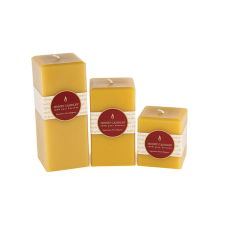 Unique square tall beeswax pillar candles in beautiful honey color