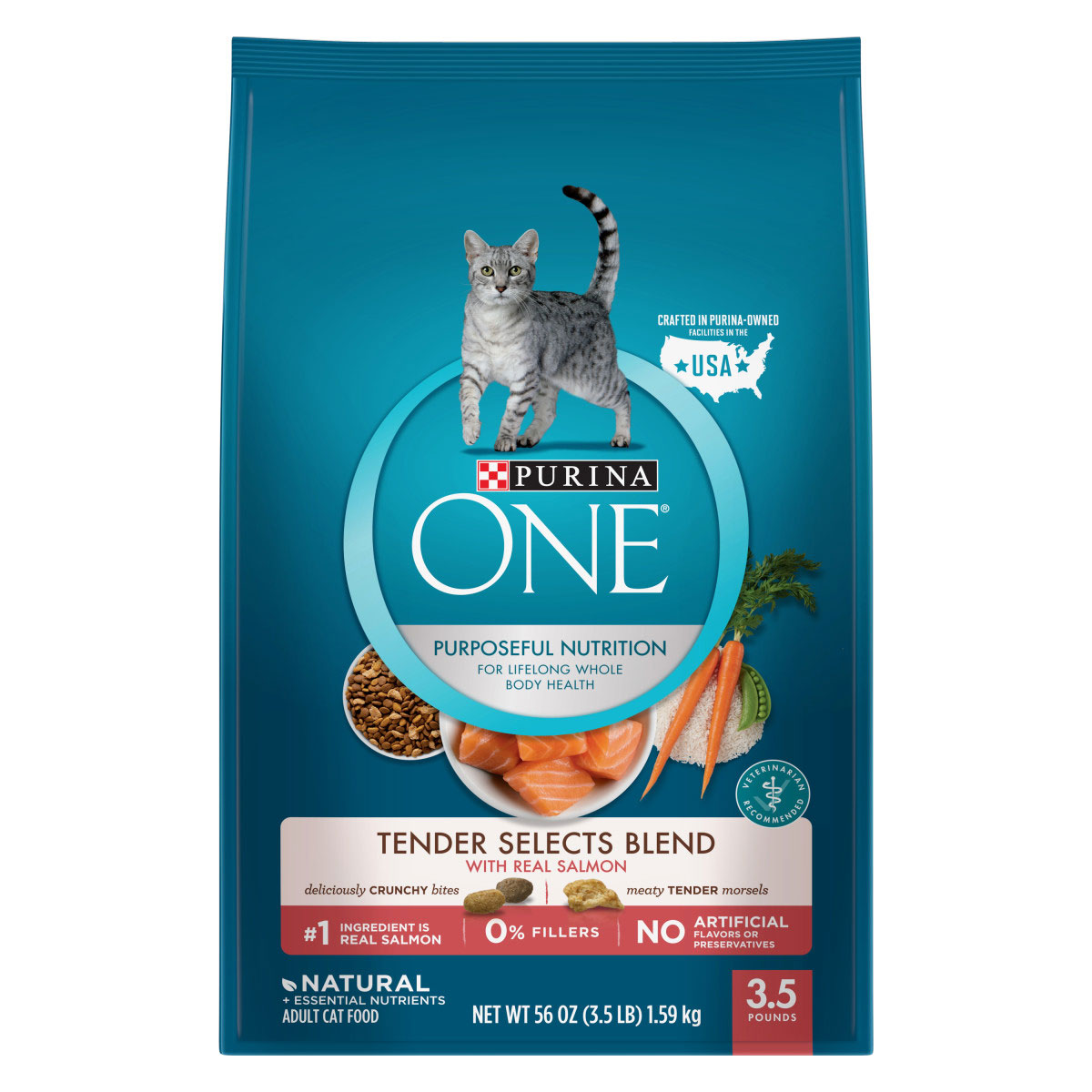 Purina ONE Tender Selects Blend With Real Salmon Adult Dry Cat Food - 3.5 Pound Bag