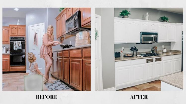 Lydia D'Antonio, the blogger behind Lydia Louise Blog, wanted a cabinet upgrade without a full kitchen renovation