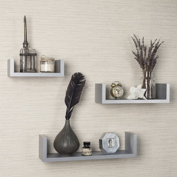 Cozy Gray Floating Shelves