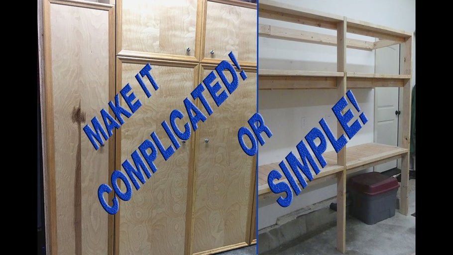 This storage shelf solution can be made as easy as putting up some 2x4's or as complicated as building large shop cabinets