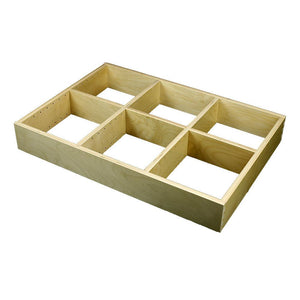 "3 Section Adjustable Divider (up to 9 cubicles) organizer insert.  Interior Drawer Dimension Range: Width 12"" to 24'"", Depth 16 1/16"" to 21"", Height 2"" to 6""."