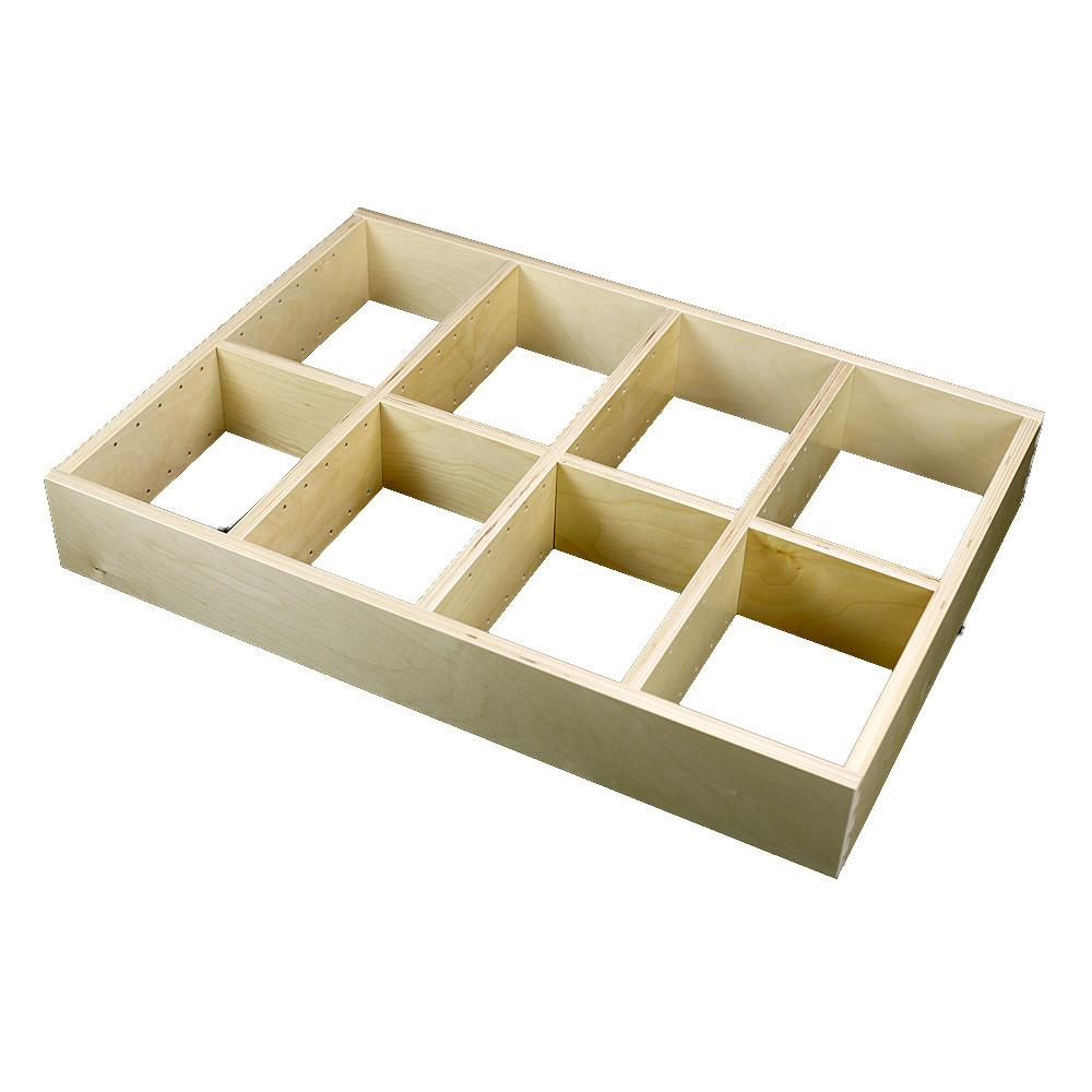 4 Section Adjustable Divider (up to 12 cubicles) organizer insert.  Interior Drawer Dimension Range: Width 12