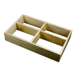 "2 Section Adjustable Divider (up to 6 cubicles) organizer insert.  Interior Drawer Dimension Range: Width 12"" to 24'"", Depth 8"" to 16"", Height 2"" to 6""."