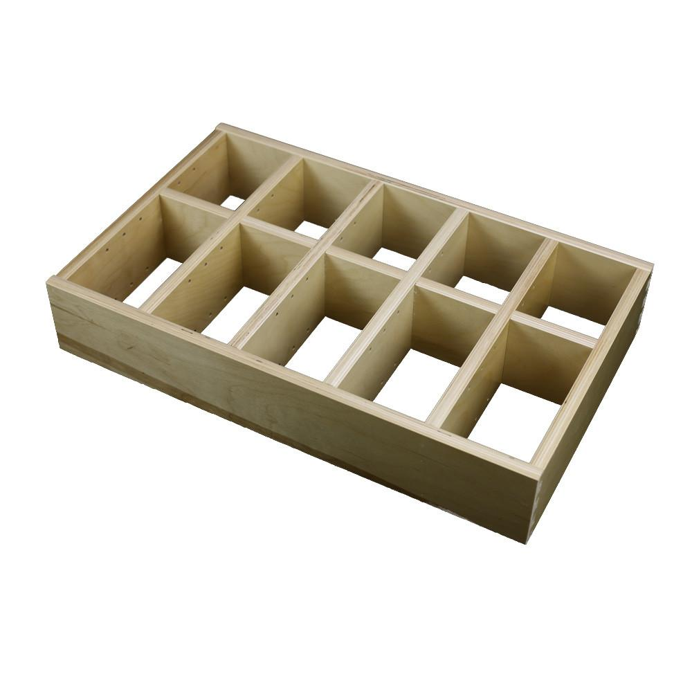 5 Section Adjustable Divider (up to 15 cubicles) organizer insert.  Interior Drawer Dimension Range: Width 24 1/16