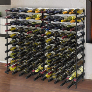 Discover the best sorbus display rack large capacity wobble free shelves storage stand for bar basement wine cellar kitchen dining room etc black height 40 100 bottle