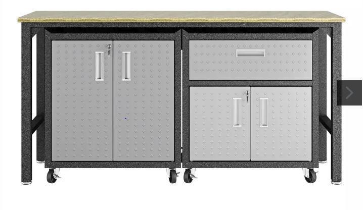 Manhattan Comfort Fortress 3 Piece Set and Worktable 2.0