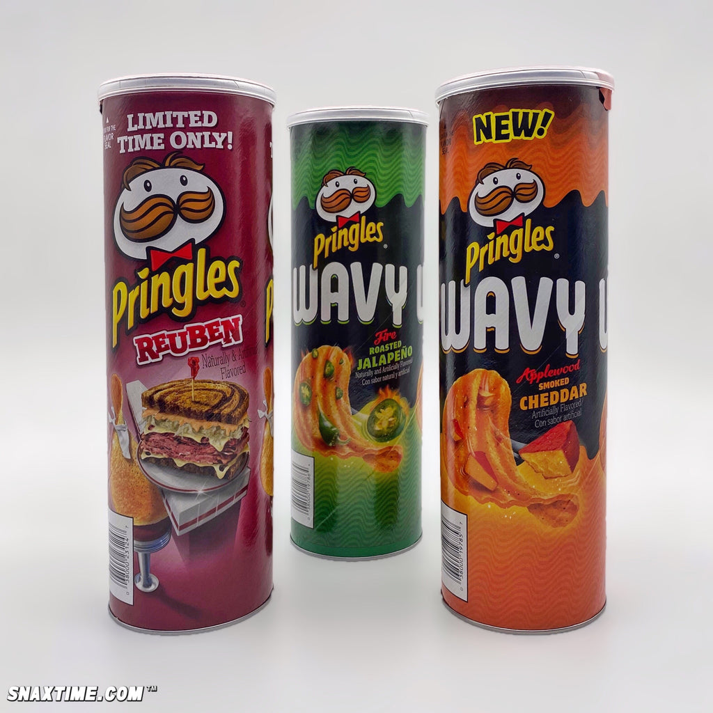 Pringles Reuben, Applewood Smoked Cheddar & Fire Roasted Jalapeño: CRUNCHY NEW CHIPS!