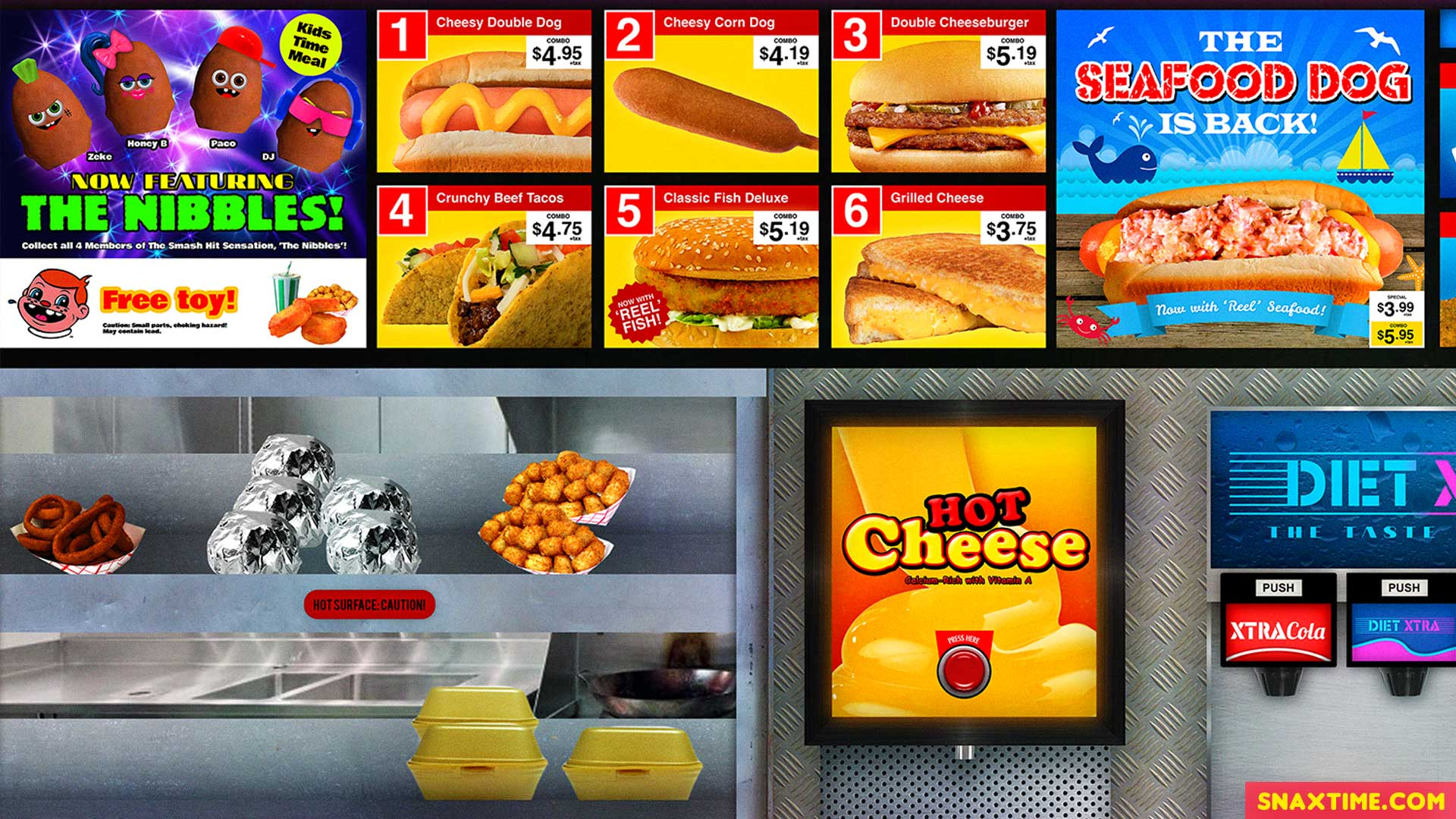 Free Zoom Background - Fast Food Menu Board Cheese Seafood Hot Dog Happy Meal Toys