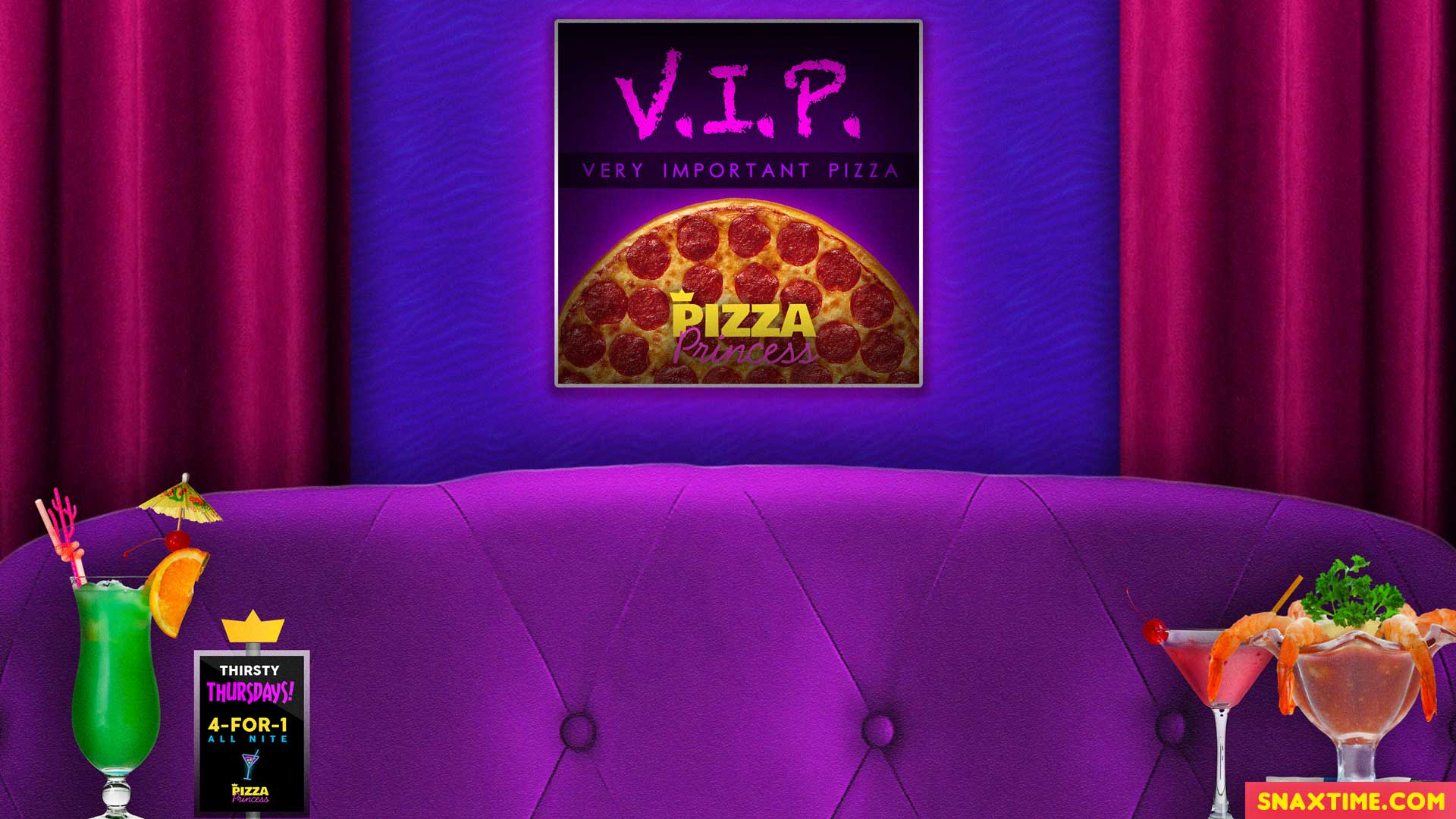 Free Zoom Background - Pizza Restaurant VIP Cocktails with Shrimp