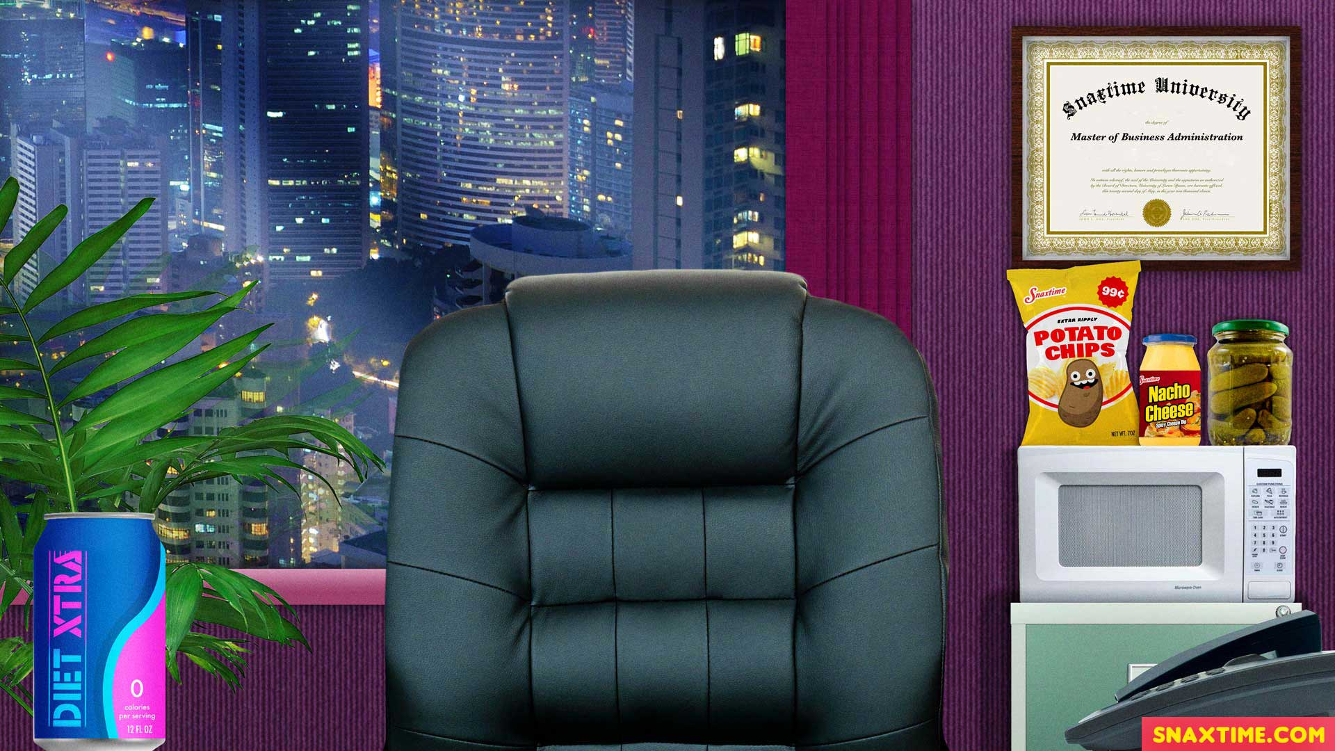 Free Zoom Background - Executive CEO Office with Microwave and junk food