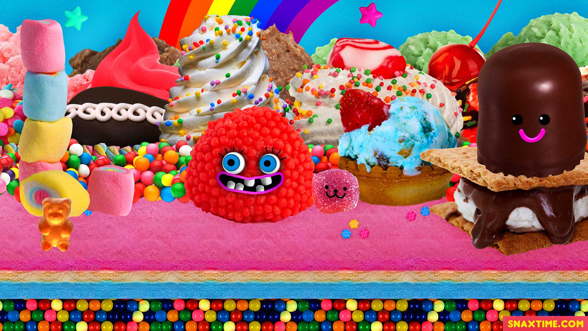 Free Zoom Background - Candyland Fantasy Ice Cream Cupcakes S'mores Dessert