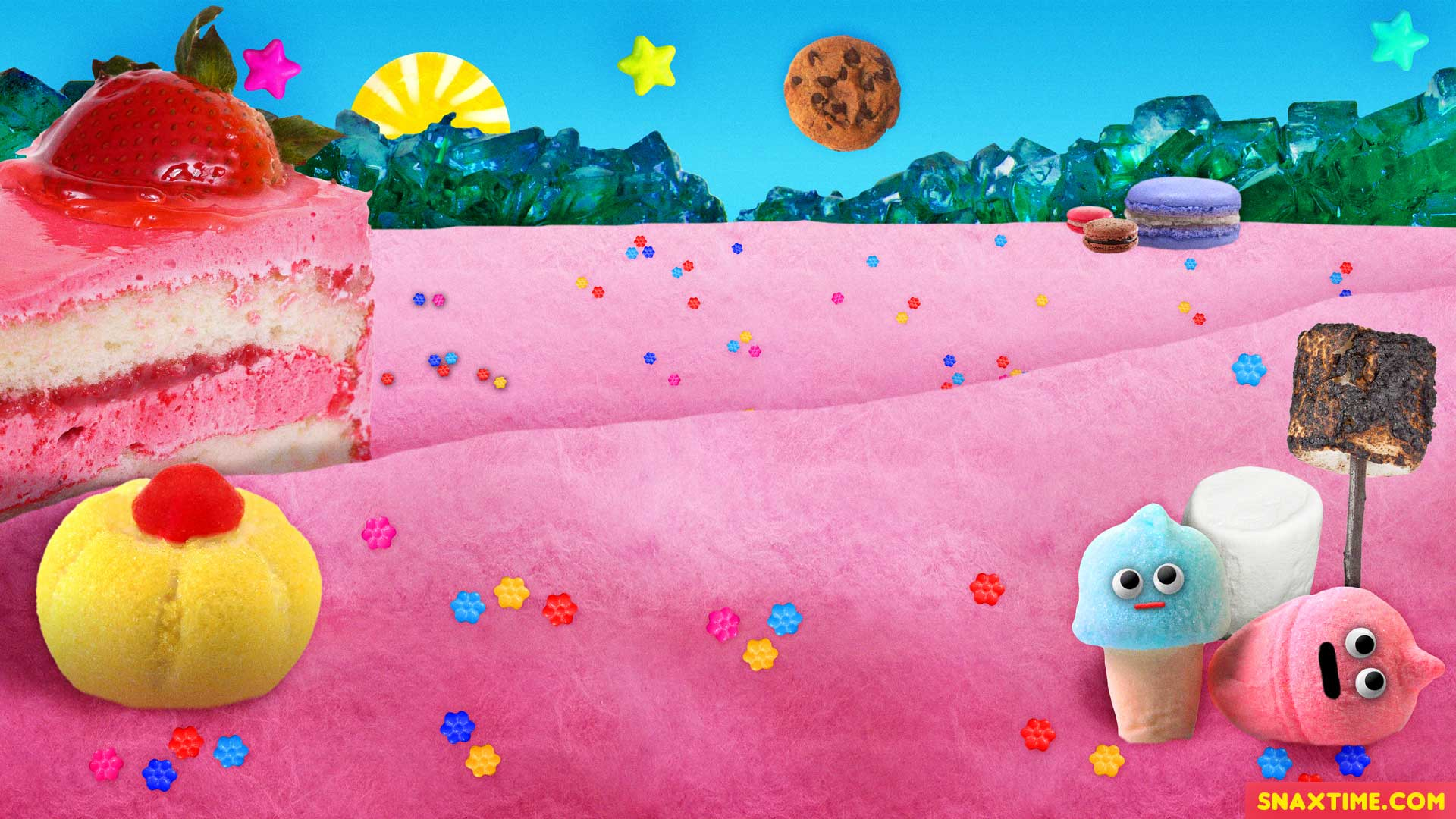 Free Zoom Background - Cotton Candy Cookies Rock Candy Marshmallows