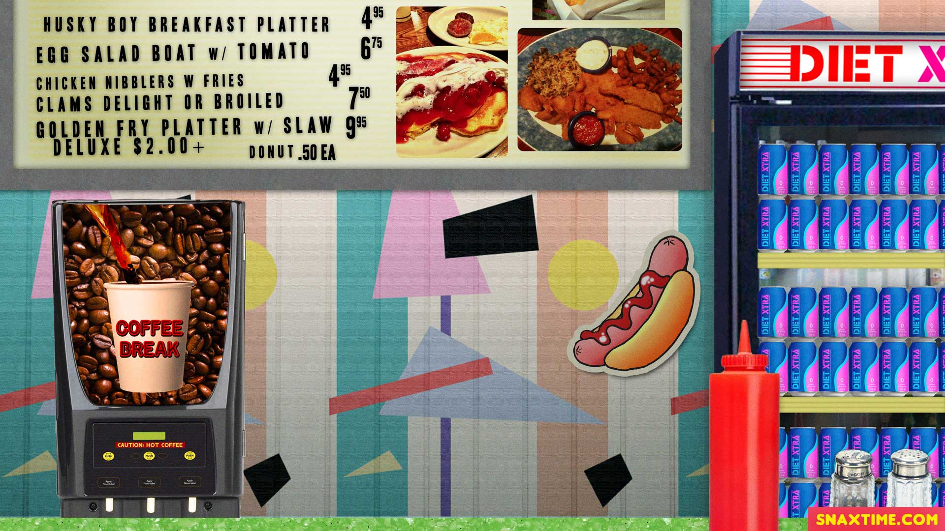 Free Zoom Background - Retro diner with menu board