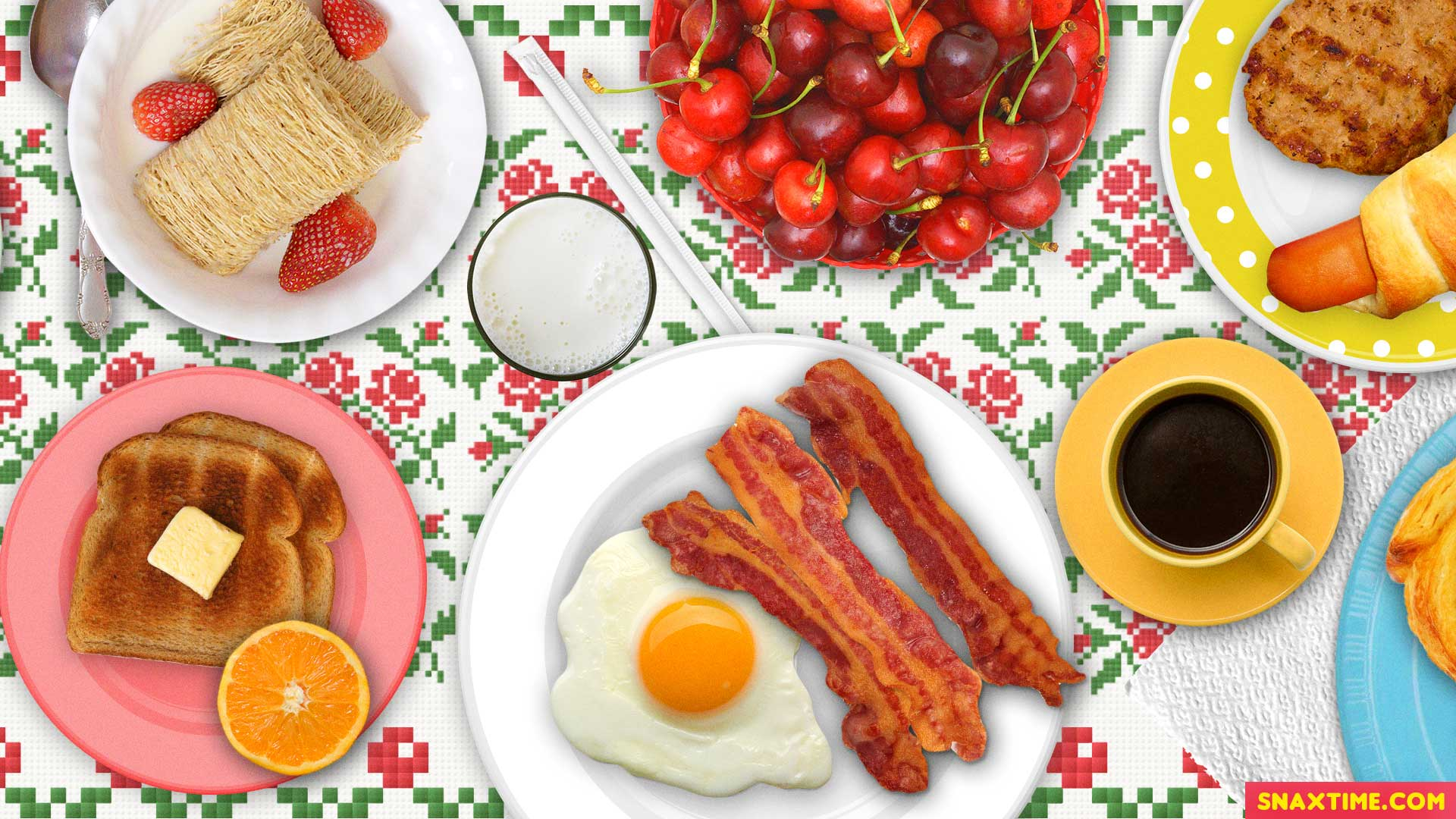 Free Zoom Background - Breakfast food eggs bacon toast cereal coffee