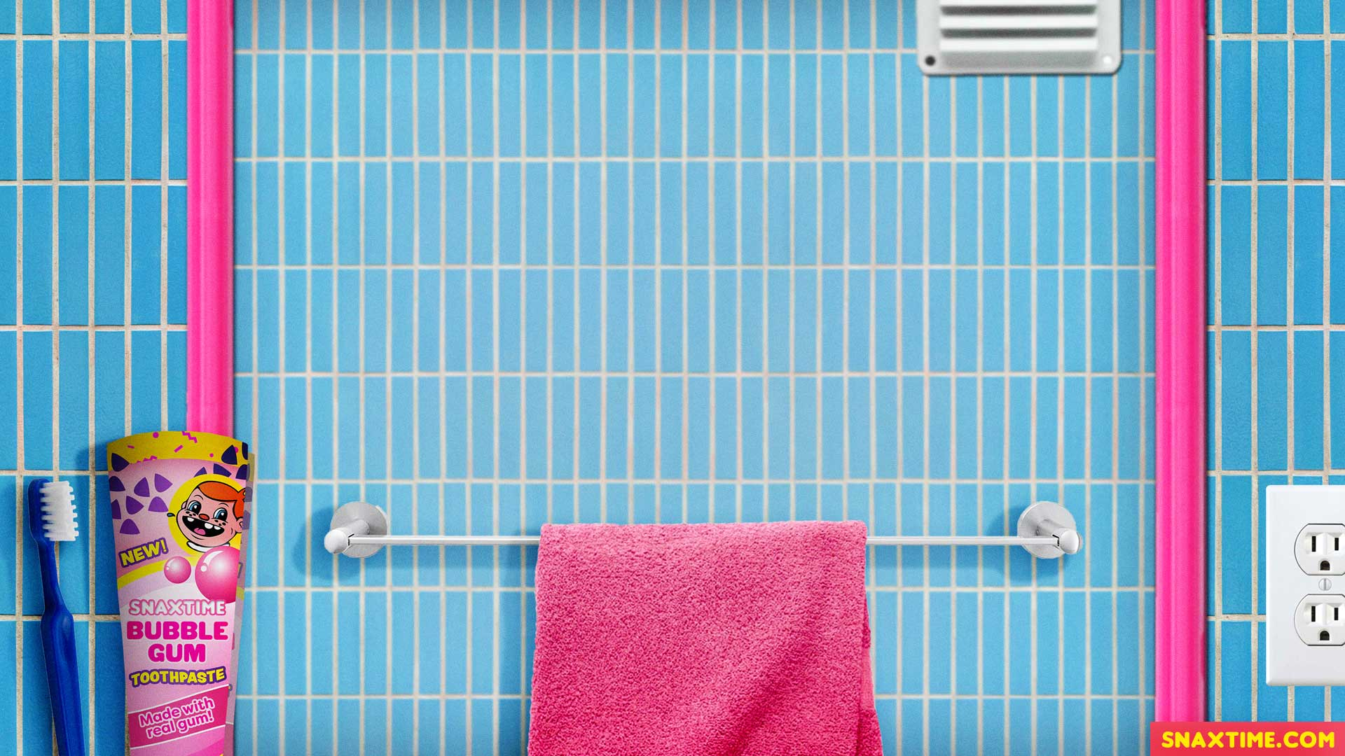 Free Zoom Background - Retro Pink and Blue Bathroom with Bubblegum Toothpaste