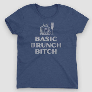 Basic Brunch Bitch Women's Graphic T-Shirt - Snaxtime Retro Style Food Apparel
